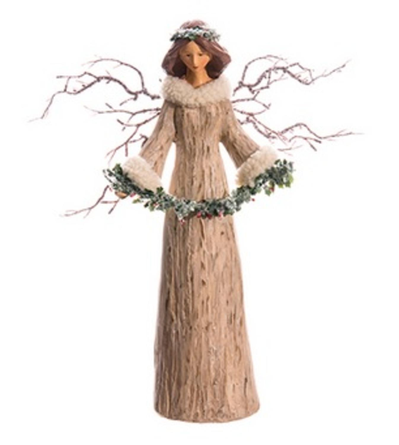 "15.5"" Natural Angel with Frosted Twig Wings and Garland Table Top Christmas Decoration"
