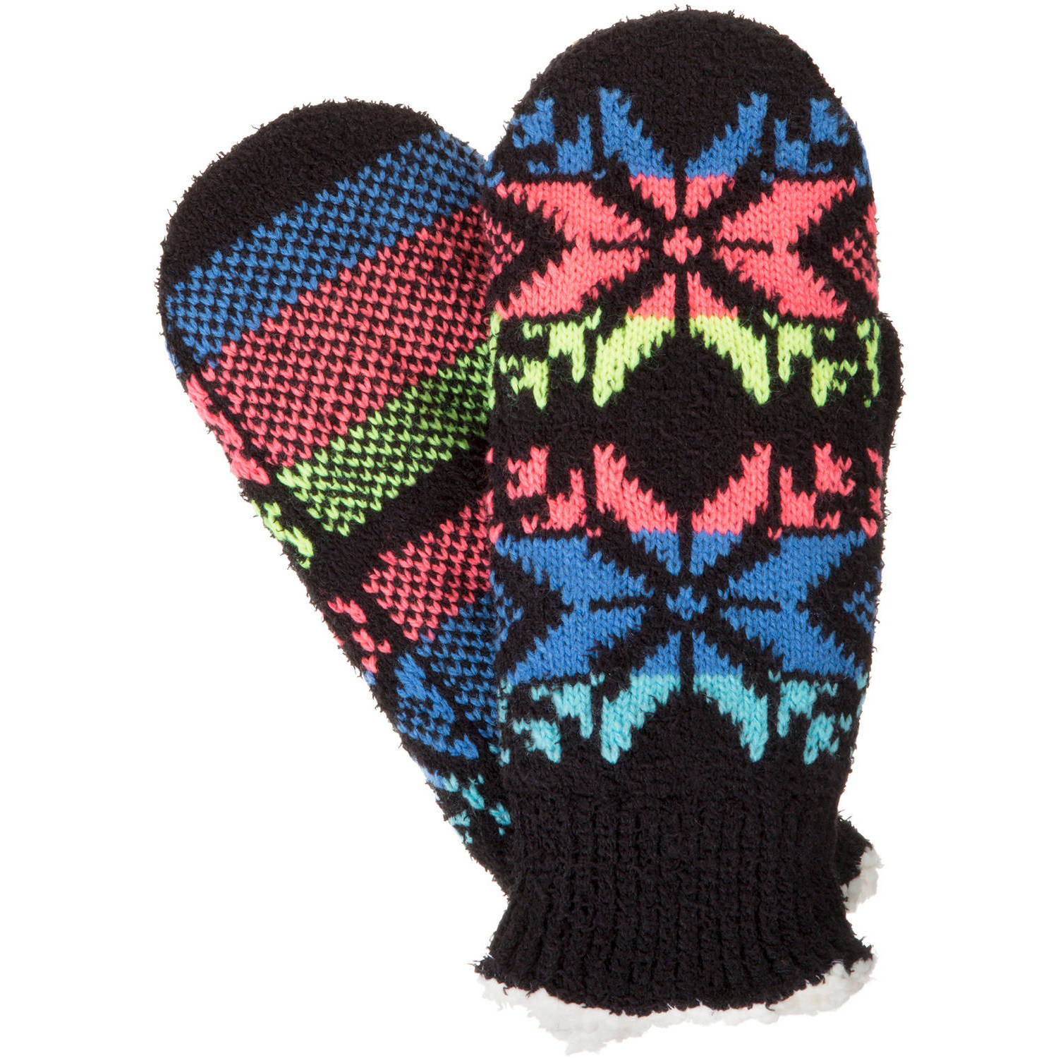 Essentials by Isotoner Women's Colorblock Snowflake Mitten w/Sherpasoft Lining