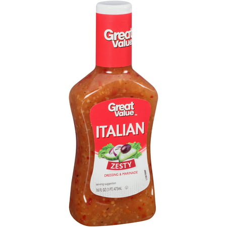 (4 Pack) Great Value Zesty Italian Dressing & Marinade, 16 Oz ()