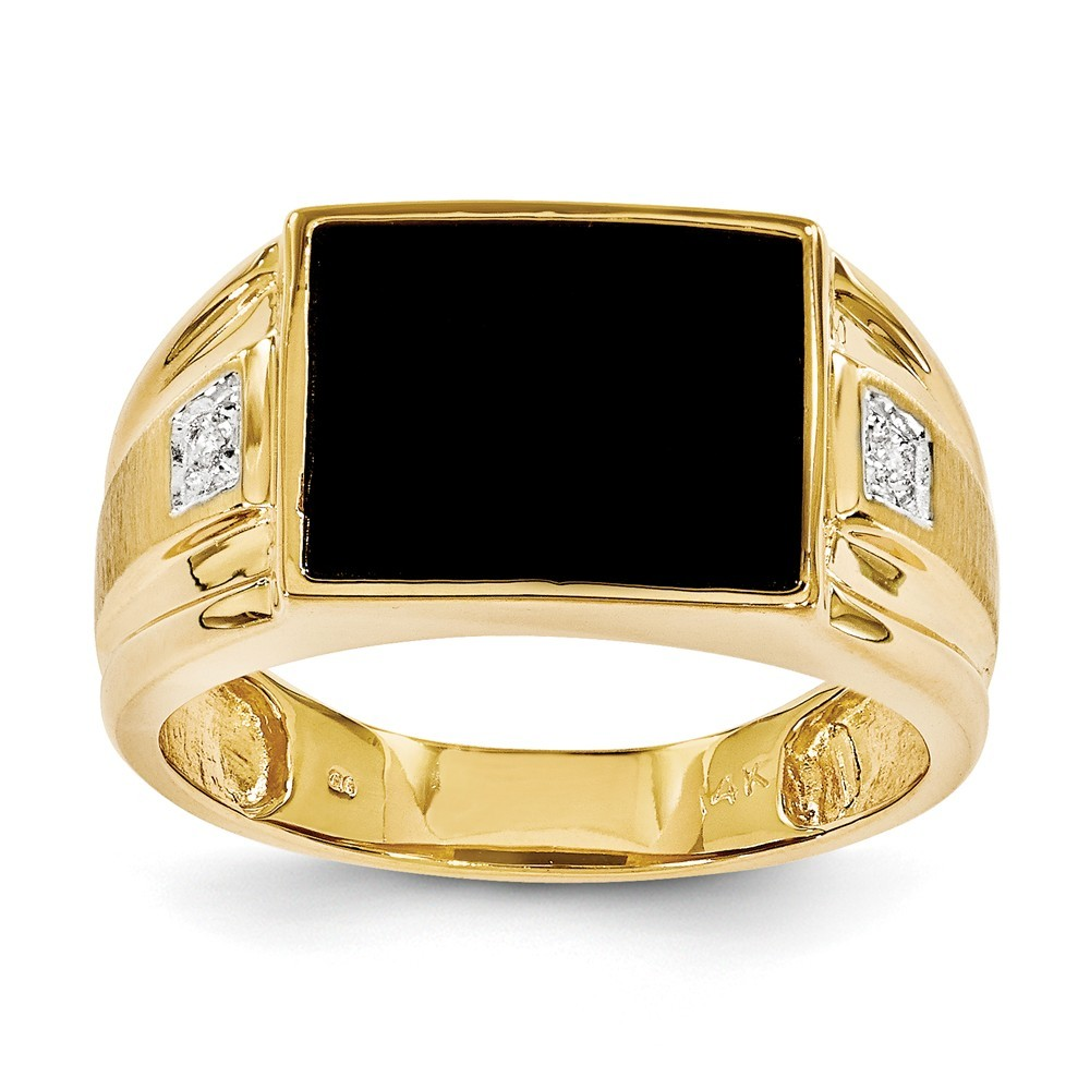 14k Yellow Gold Mens Simulated Onyx and Diamond Ring - .01 dwt - Size 10