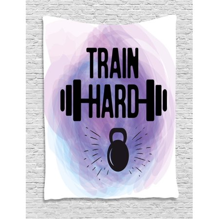 Metal Train Bell - Fitness Tapestry, Watercolors Style Train Hard Life Message Kettlebell and Barbell, Wall Hanging for Bedroom Living Room Dorm Decor, Lavender Pale Blue Black, by Ambesonne