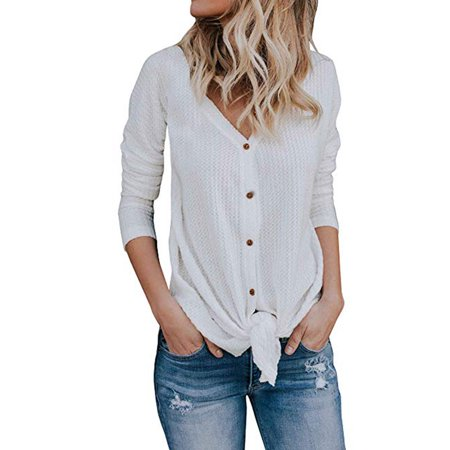 cebb34c04eecf Issac Live - Womens Waffle Knit Tunic Blouse Tie Knot Henley Tops Bat Wing Plain  Shirts - Walmart.com