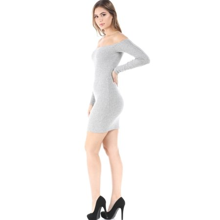 157f9fc6793e Salt Tree Women's Soft Ribbed Off The Shoulder Bodycon Long Sleeve Dress