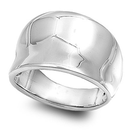 Sterling Silver Women's Concave Fashion Ring ( Sizes 4 5 6 7 8 9 10 11 12 13 14 ) Cute Pure 925 Band 15mm Rings (Size 13) Sterling Silver Concave Ring
