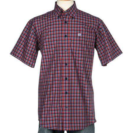 Cinch Apparel Mens  Red Plaid Short Sleeve Button Shirt