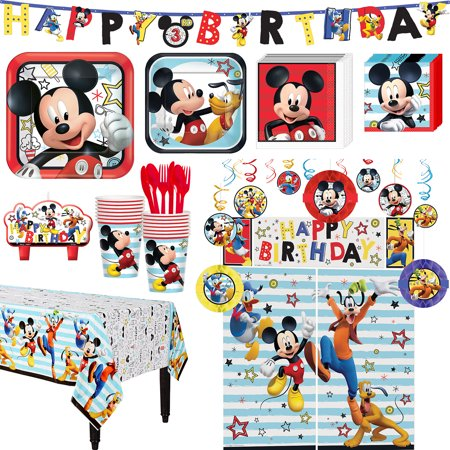 Mickey Birthday Decorations (Mickey Mouse Birthday Party Kit, Includes Happy Birthday Banner and Decorations, Serves)