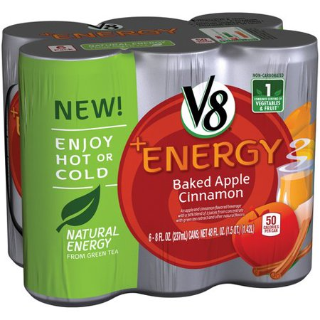 V8  Energy Baked Apple Cinnamon Flavored Beverages  8Oz  6Ct