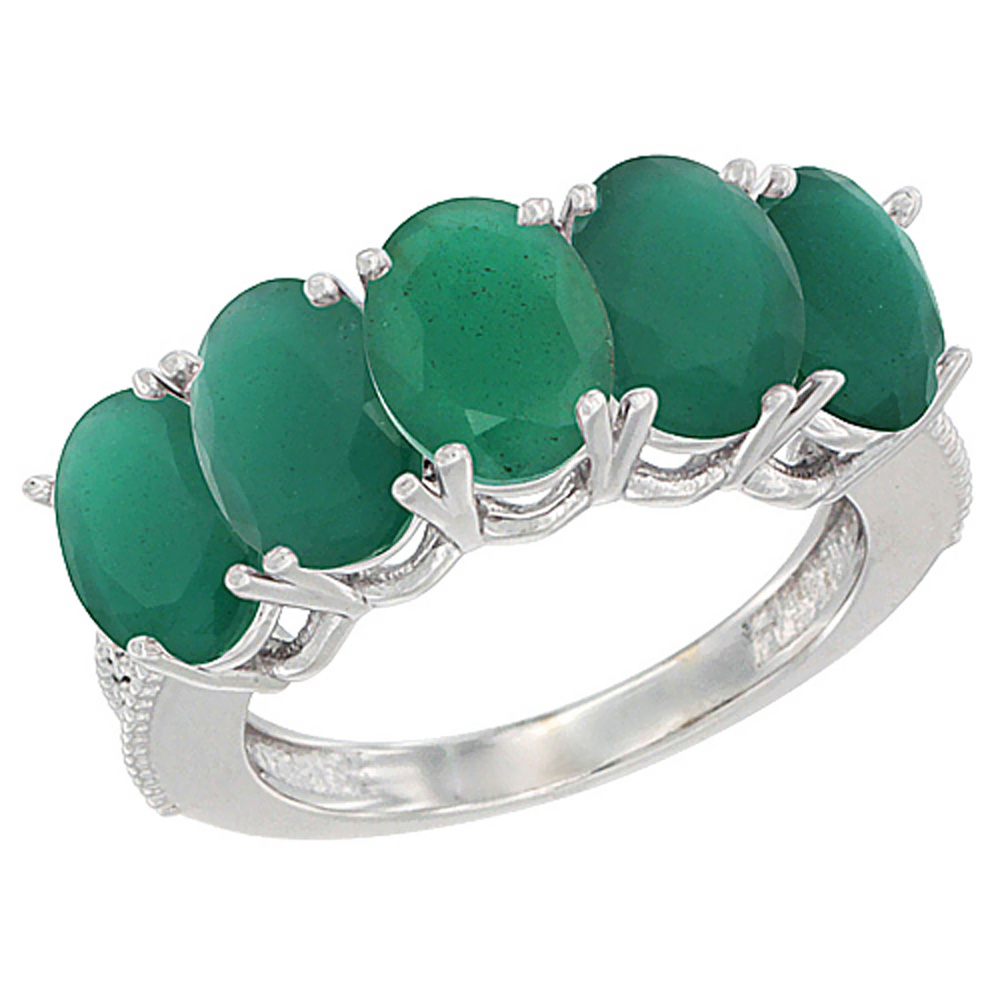 14K White Gold Natural Emerald 1 ct. Oval 7x5mm 5-Stone M...