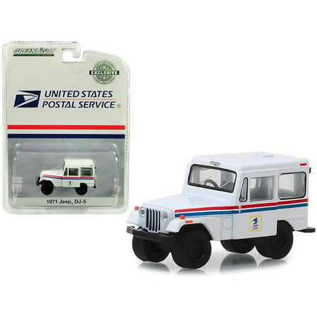 Greenlight Collectibles 29997 1:64 1971 Jeep DJ-5 United States Postal Service (USPS) - White with Red and Blue Stripes (Hobby (Us Postal Jeep)