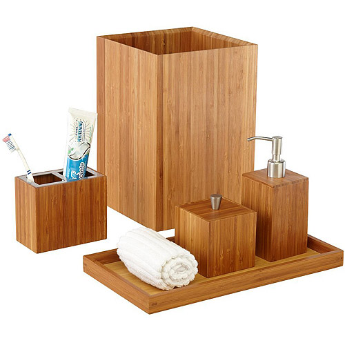 Seville Classics 5 Piece Bamboo Bath And Vanity Luxury Bathroom Essentials Accessory  Set