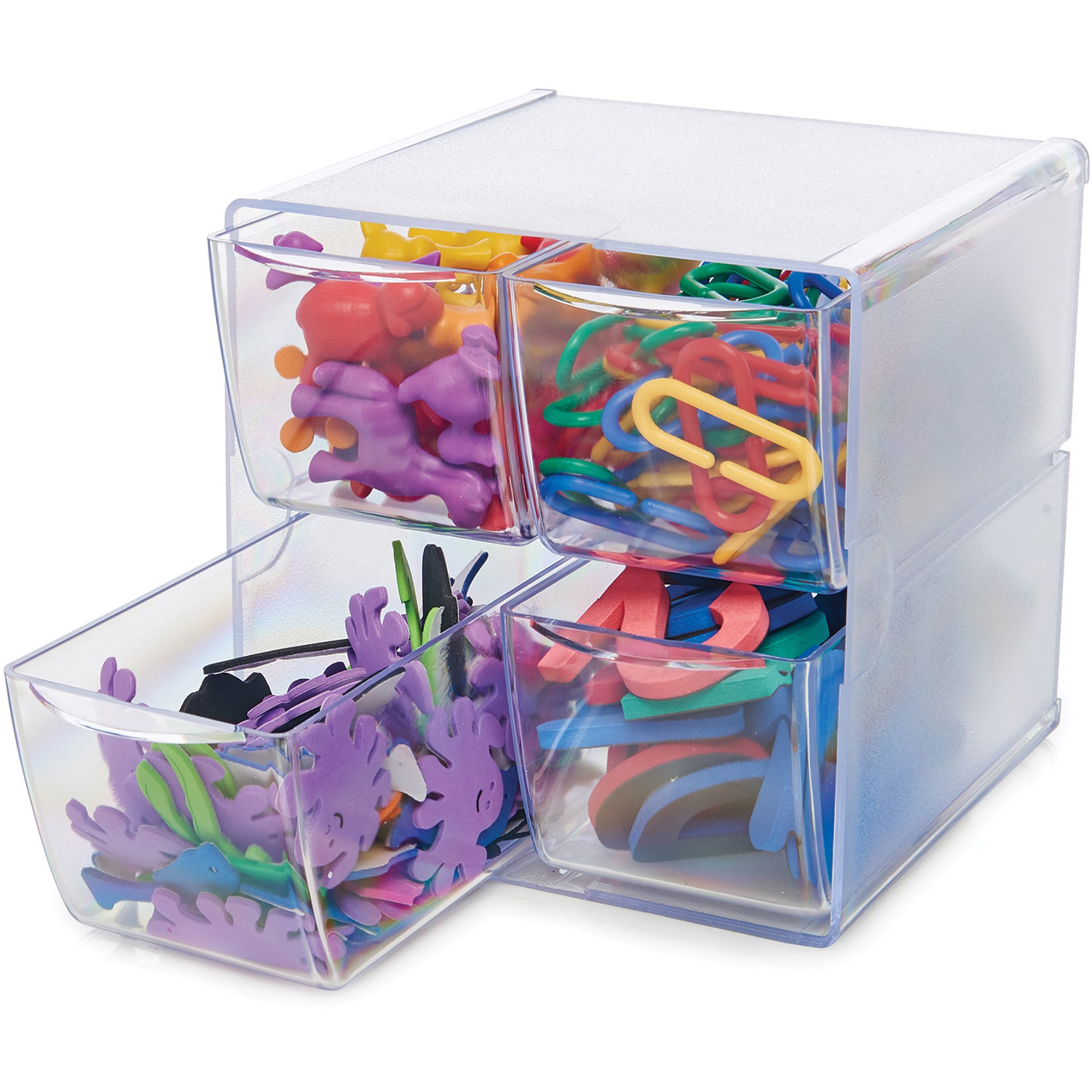 deflecto Desk Cube, with Four Drawers, Clear Plastic, 6 x 7-1/8 x 6