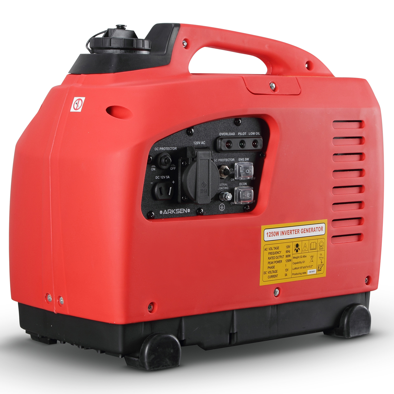 ARKSEN Portable Gas-Powered Quiet Inverter Generator Peak 1250-Watt Gasoline EPA (CARB) Compliant
