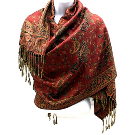 Silver Fever Pashmina - Jacquard Paisley Shawl - Stylish Scarf - Double Sided Wrap Brown Sand