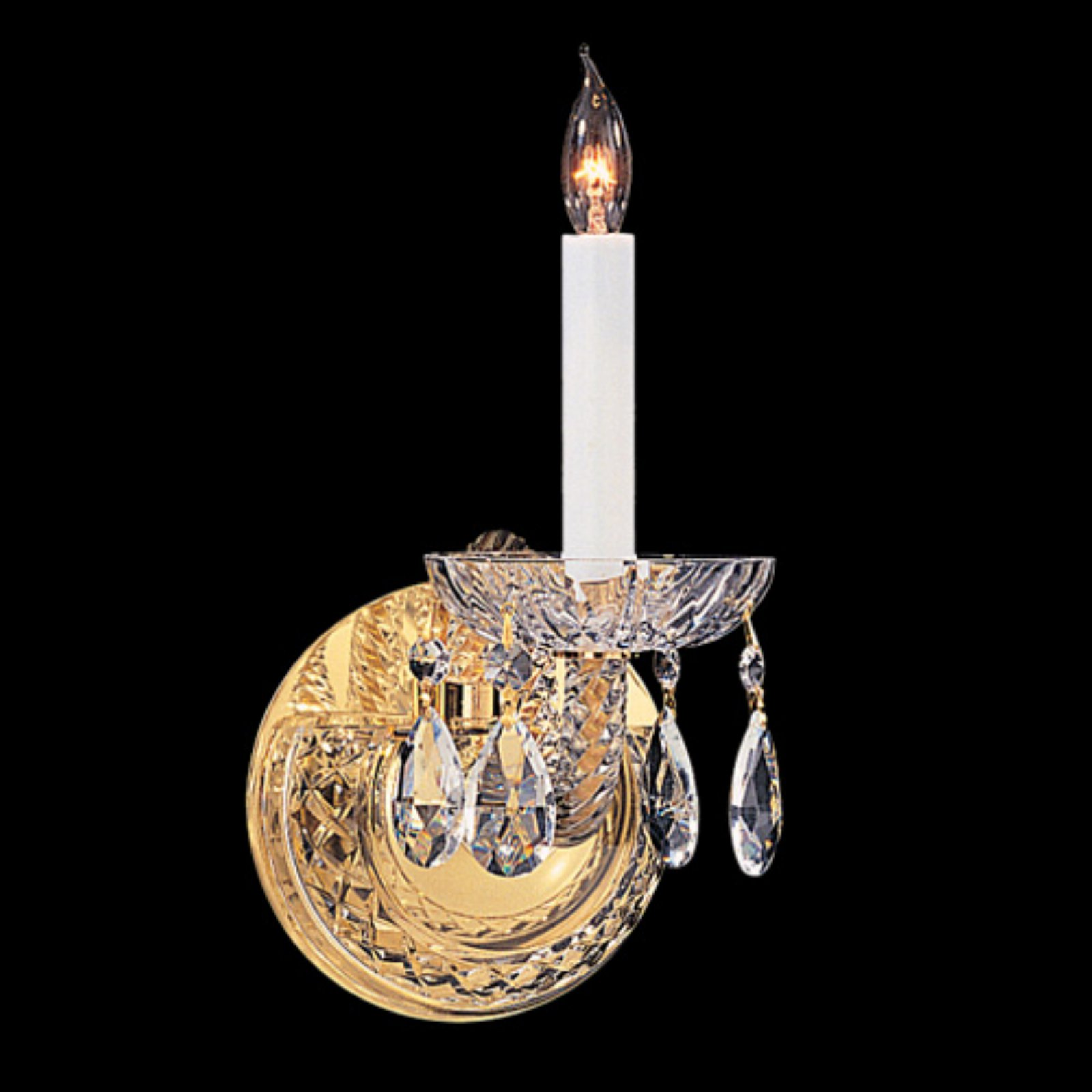 Crystorama 1121-PB-CL-S Traditional Swarovski Elements Crystal Wall Sconce 5W in by Crystorama