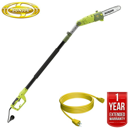Image of Sun Joe Saw Joe 10-Inch 8-Amp Multi-Angle Telescopic Electric Pole Chain Saw (SWJ803E) All You Need Bundle with 25 Foot Outdoor Extension Cord and One year Warranty Extension