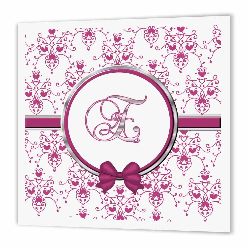 3dRose Elegant Pink and Silver Heart Damask Monogram Letter E, Iron On Heat Transfer, 6 by 6-inch, For White Material