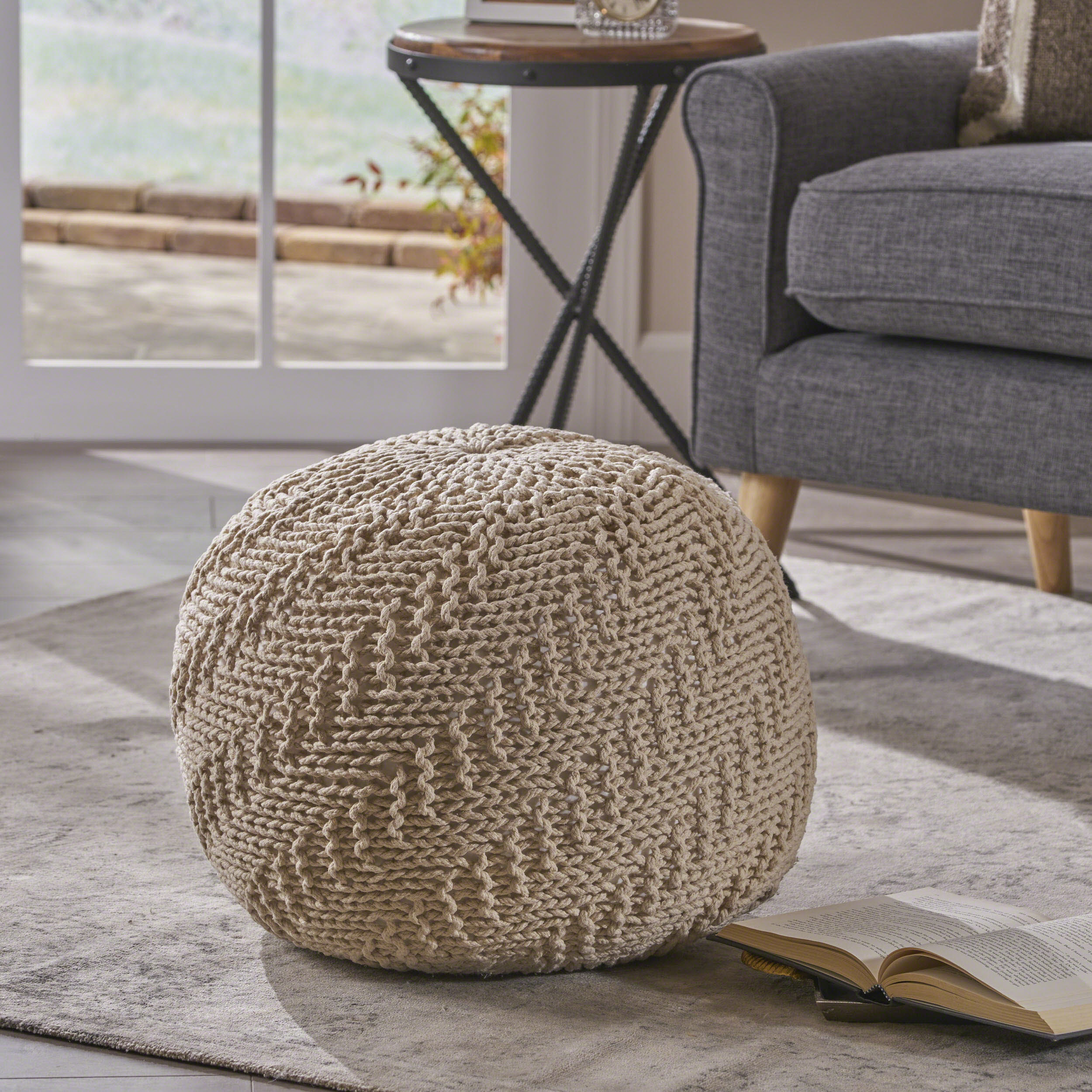 Noble House Knitted Cotton Pouf, Beige