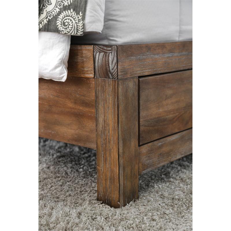 Furniture Of America Russ Rustic Wood King Storage Bed In Oak Walmart Com Walmart Com