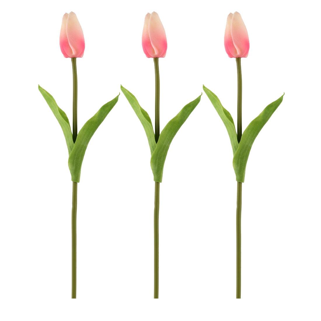 Wedding Banquet Tulip Design Handhold Artificial Flower Bouquet Pink Beige 3pcs