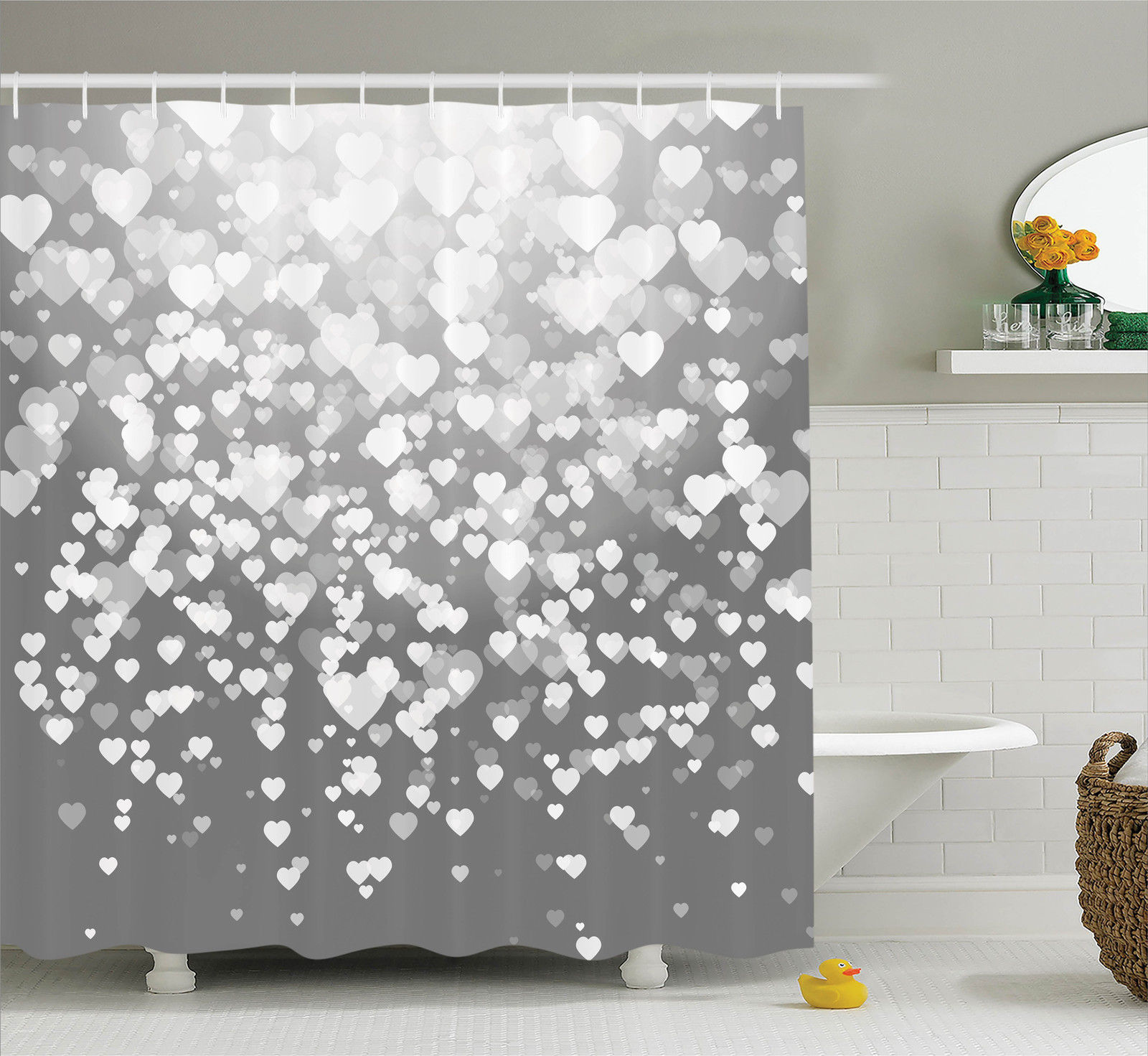 Love Decor  Abstract Artwork With Hearts Silhouette Sunsh...