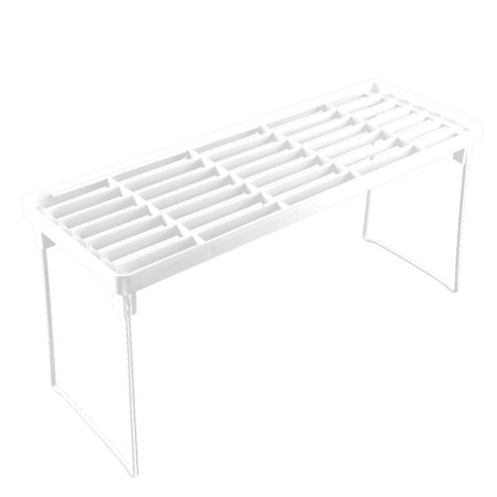 Household Kitchen Plastic Rectangle Design 1 Layer Sundries Storage Shelf White ()