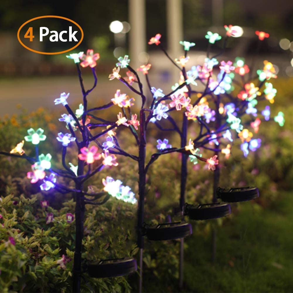 Jack Rose Solar Lights Outdoor Decorative Solar Garden Lights 4 Pack Beautiful 20 Led Fairy Flower Lights Solar Powered Outdoor Lights Multi Color Yard Lights For Walkway Patio Yard Garden Lawn