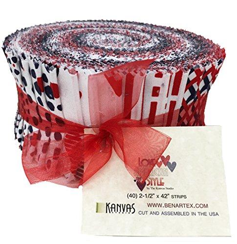 "Love American Style Patriotic 40 2.5"" Strips cotton fabric by Benartex"