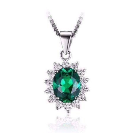 ON SALE - Russian Halo Oval Cut 2.5CT Nano Simulated Emerald IOBI Precious Gems Pendant Necklace Russian Emerald - Russian Emerald