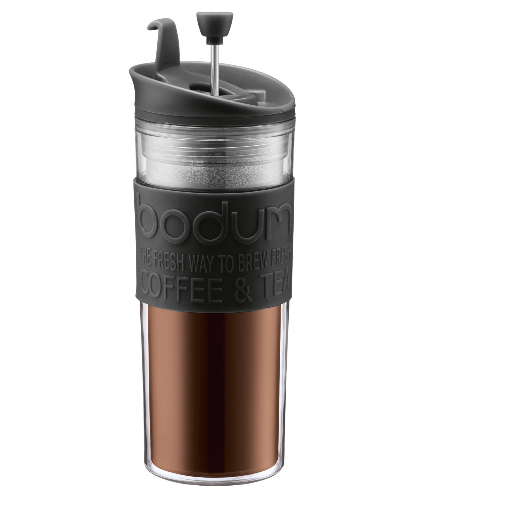 Bodum TRAVEL PRESS Coffee maker, Non Slip Silicone Grip, 0.45 L, 15 Ounce, Black by Bodum