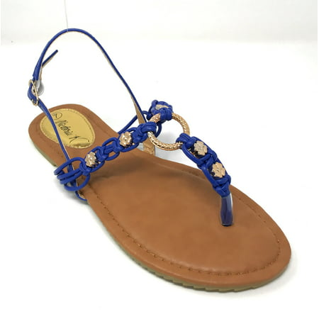 Victoria K Women's Multi Knots With Metallic Beads and Gold Centered Ring Sandals - Sandals Beaded