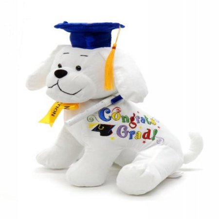 Graduation Autograph Stuffed Dog With Pen, Blue Hat - Congrats Grad! 10.5