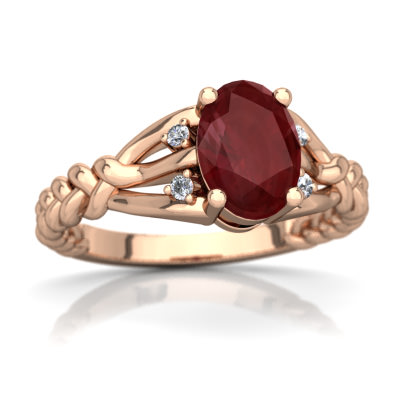 Ruby Braided Ring in 14K Rose Gold by