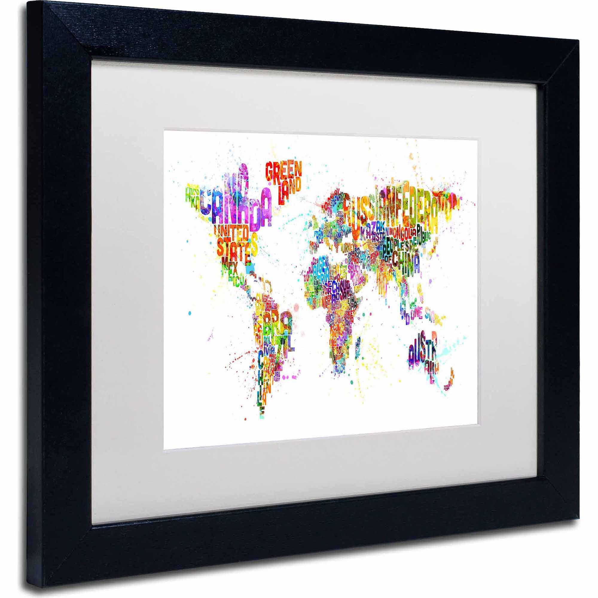 """Trademark Fine Art """"Paint Splashes Text Map of the World"""" Canvas Art by Michael Tompsett, White Matte, Black Frame"""