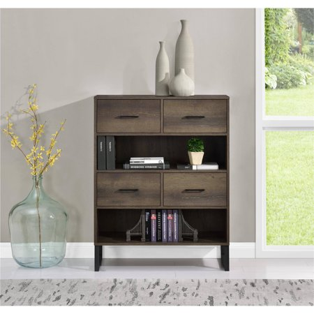 Ameriwood Home Candon Bookcase With Bins Distressed Brown Oak