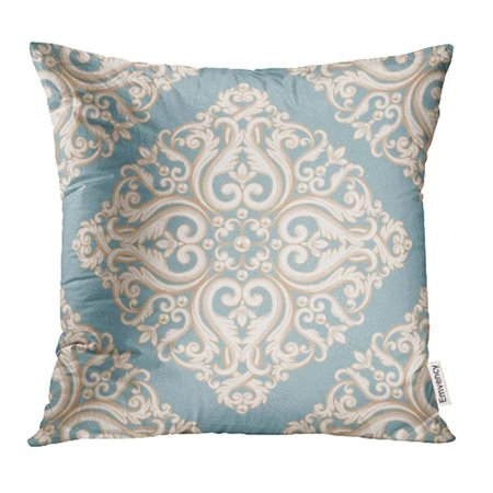 Abstract Damask Pearl - YWOTA Luxury Damask Pattern Blue and Beige Pastel with Pearls As for Birthday Rococo Curl Pillow Cases Cushion Cover 16x16 inch