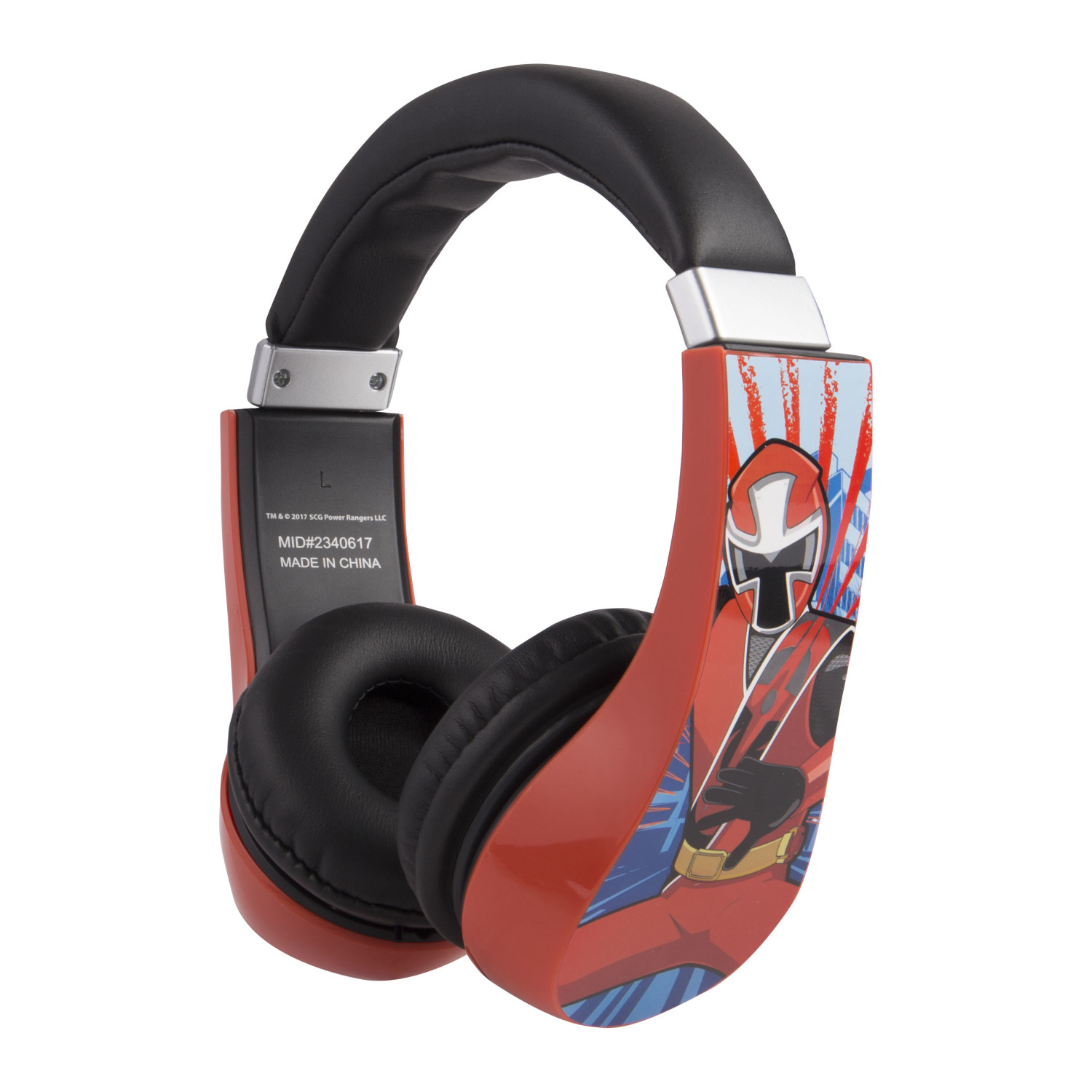Power Rangers Kids Friendly Cushioned Headphones with Volume Limiter