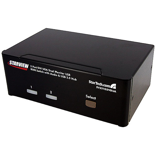 Startech 2-Port DVI VGA Dual Monitor KVM Switch USB w/ Audio and USB 2.0 Hub