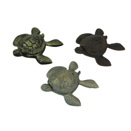 Set of 3 Cast Iron Brown Blue Brass Turtle Trinket (Brass Trinket)