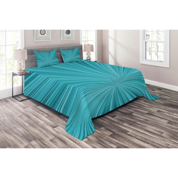 Teal Coverlet Set Abstract Vortex Design With Fireworks