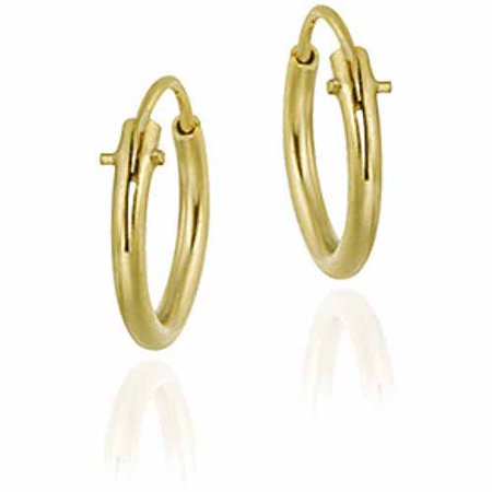 10mm 18kt Gold over Sterling Silver Tiny Polished Hoop Earrings