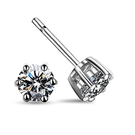 Carleen Sterling Silver Brilliant Round Cut Simulated Diamond Clear CZ Crystal Solitaire Stud Earrings for Women 6