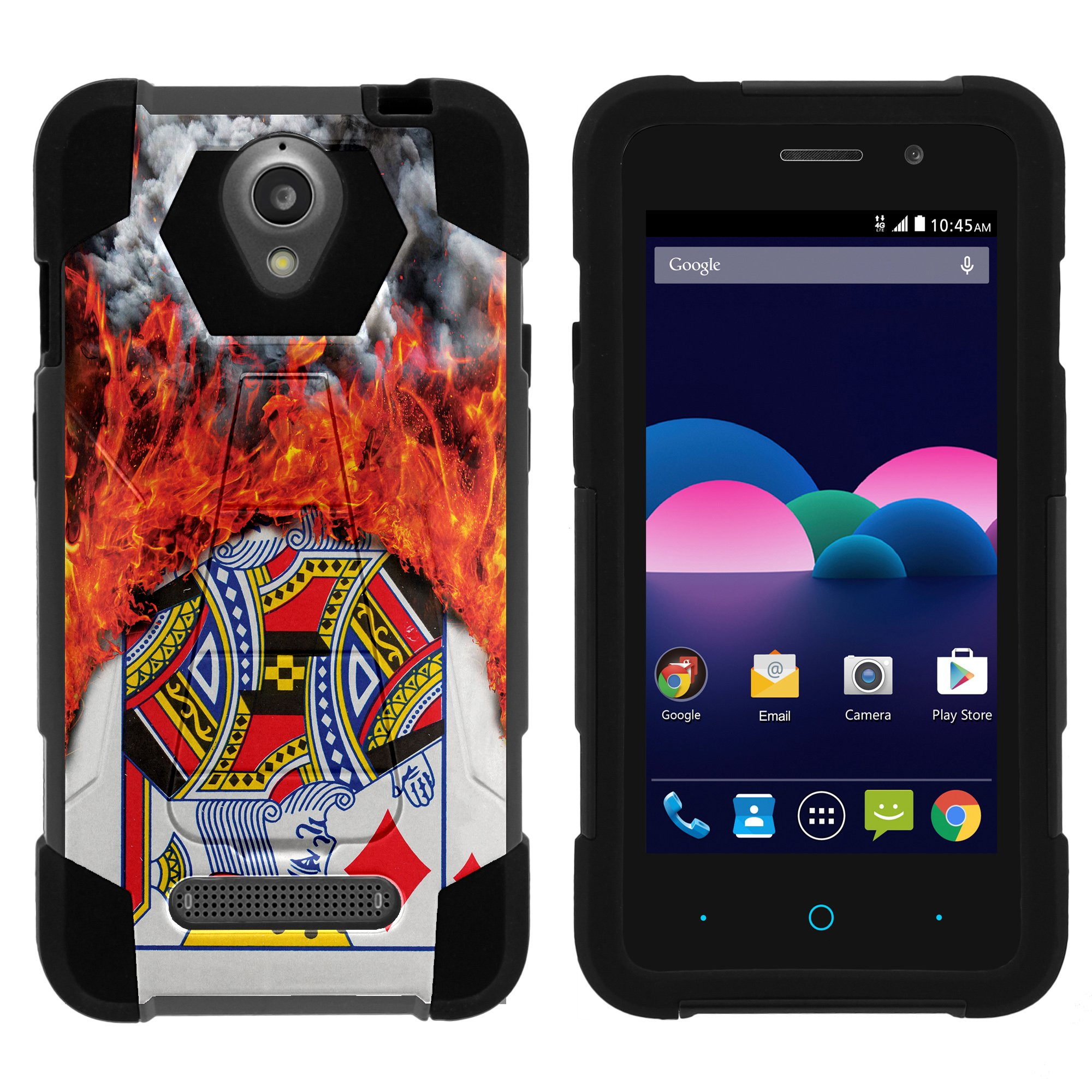TurtleArmor ® | For ZTE Obsidian Z820 [Dynamic Shell] Dual Layer Hybrid Silicone Hard Shell Kickstand Case - Burning Card