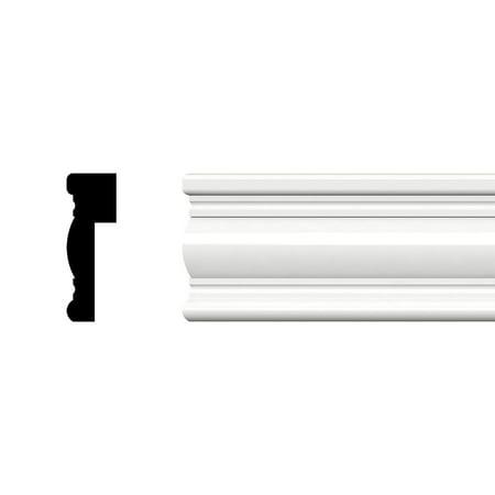 "3""H x 1""P x 96""L Decorative Wainscot Cap Moulding, PVC"