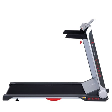 Sunny Health & Fitness Strider Motorized Folding Running Treadmill with Wide Base, Portable, USB, Flat Folding and Low Profile - SF-T7718