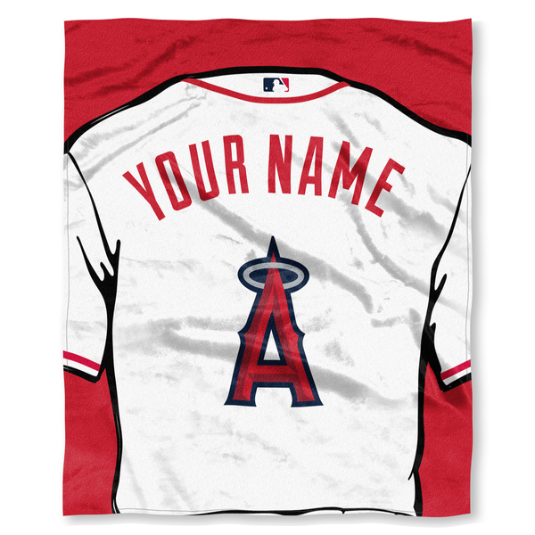 "MLB Los Angeles Angels ""Jersey"" Personalized Silk Touch Throw Blanket"