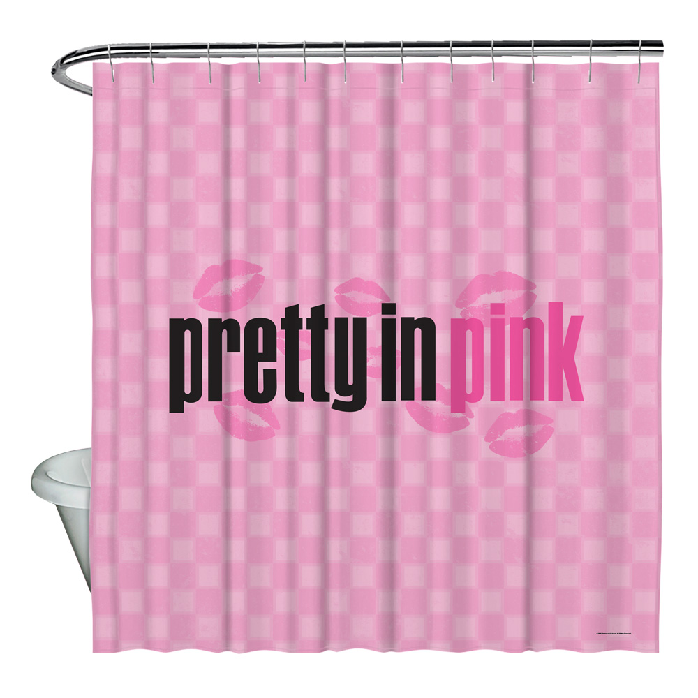 Pretty In Pink Kiss Me Shower Curtain White 71X74