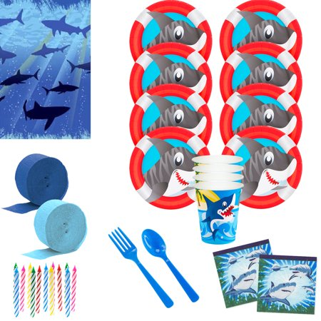 Shark Party Deluxe Tableware Kit (Serves 8)](Shark Party Plates)