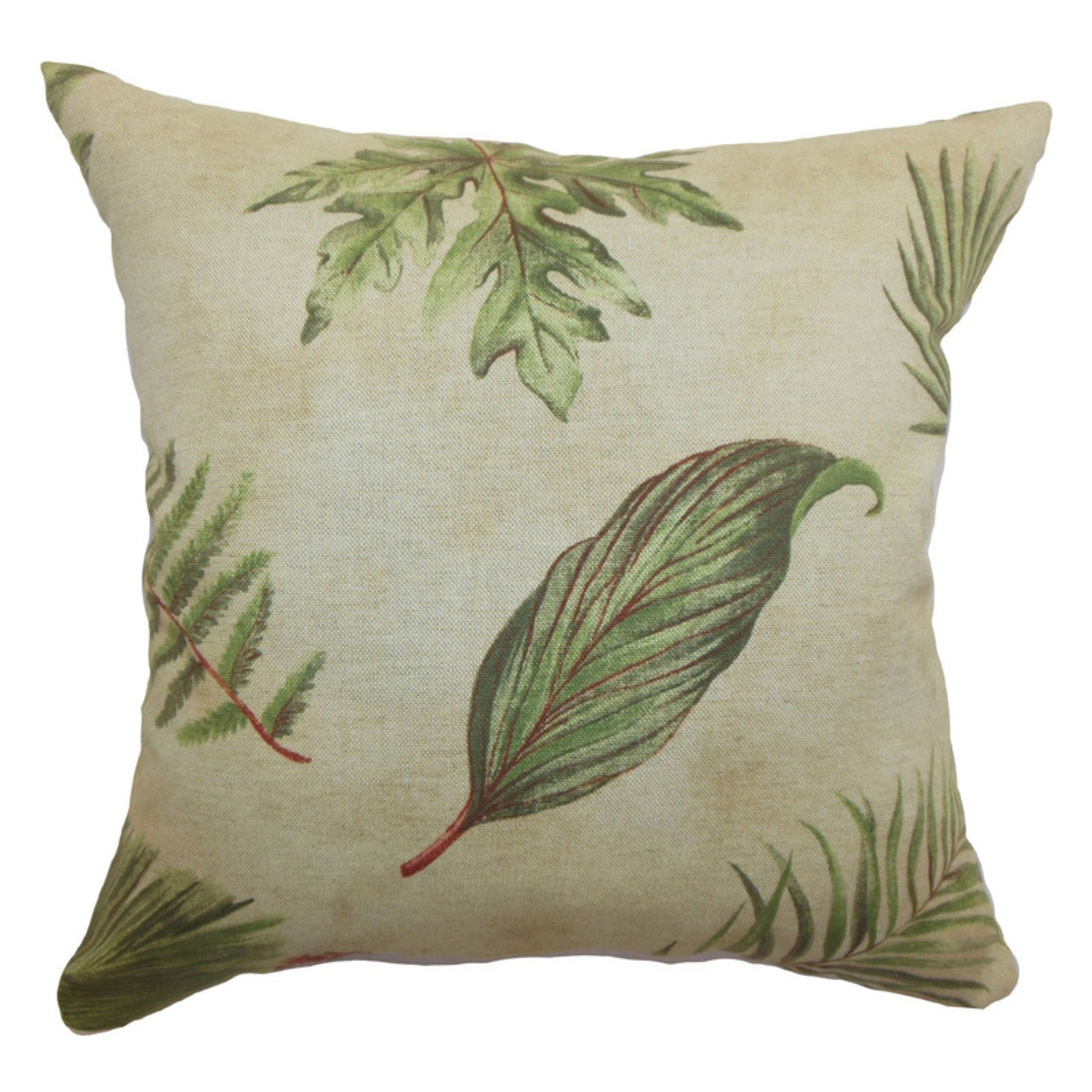 The Pillow Collection Barsia Leaf Pillow - Palm