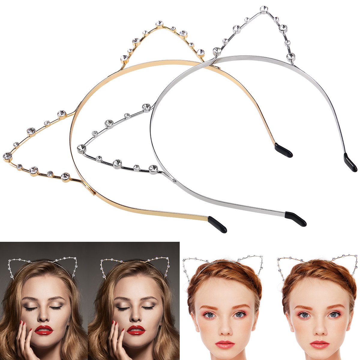 Etereauty Women's Cat Ear Headbands Rhinestone Crystal Hair Hoop Headpiece with Wrapped Ends for Costume Party (Silver & Gold), 2pcs Pack