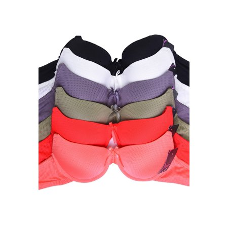 Sofra Intimate Sets | 6-Pack Full Coverage Dimpled Bra, Size 36C ()